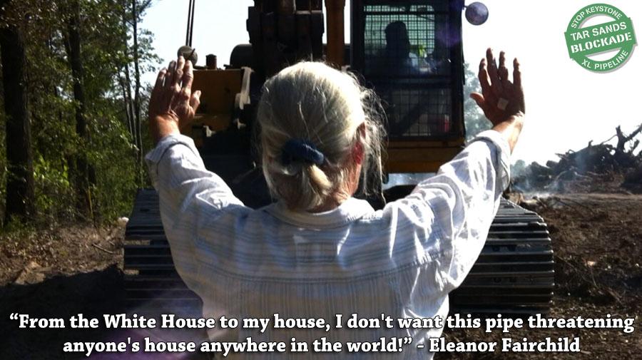 Tar Sands Blockade: Along with Landowner, Actress Daryl Hannah Arrested Eleanor_Holding-1
